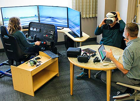 Students and faculty using the VR area